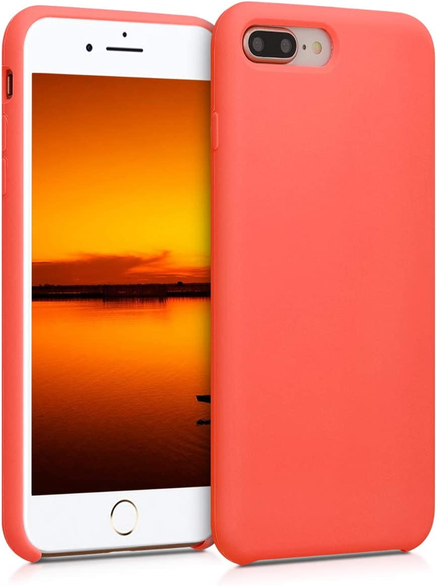 kwmobile TPU Silicone Case Compatible with Apple iPhone 7 Plus / 8 Plus - Soft Flexible Rubber Protective Cover - Living Coral