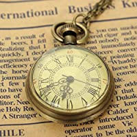 Vintage /Retro Style Bronze Yellow Dial Pendant 41CM Long Necklace Antique Pocket Watch Tour-billon for Women Men Fashion Gift