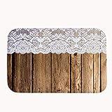 "Vintage Rustic Old Barn Wood Door Mat Bathroom Decor Coral Fleece Rug Super Absorbent Bath Mat 16"" x 24"""