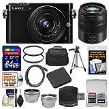 Panasonic Lumix DMC-GM5 Micro Four Thirds Wi-Fi Digital Camera & 12-32mm (Black) with 45-150mm Lens + 64GB Card + Case + Battery + Tripod + Kit