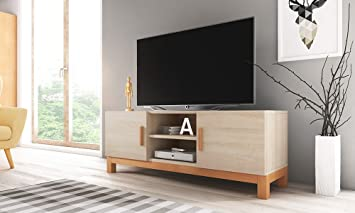 Lahti – Mueble TV Moderno/Mesa para TV/Elementos de Madera (140 cm, Marrón Claro Mate): Amazon.es: Electrónica