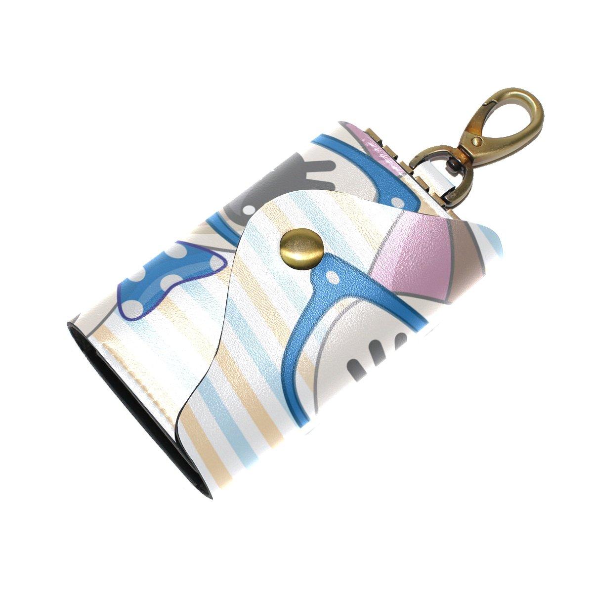 DEYYA Cartoon Cat Kitty Leather Key Case Wallets Unisex Keychain Key Holder with 6 Hooks Snap Closure