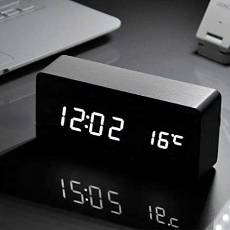 Reloj despertador led con batería recargable, de madera, con visualización de fecha, hora y temperatura, se ...