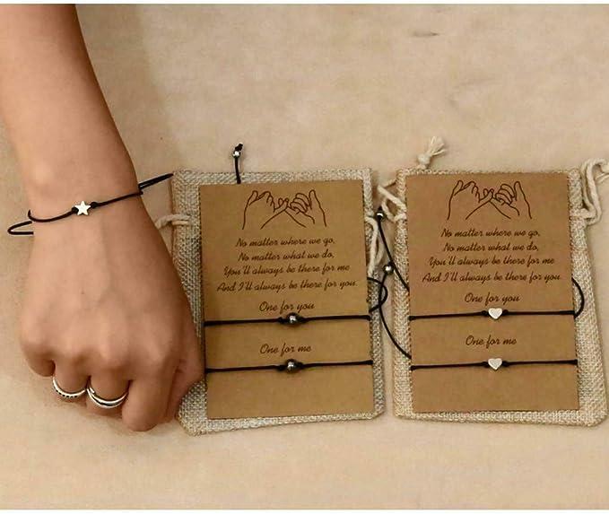Best Friend Bracelet Matching Couples Gift for 2 Cord Bracelet Distance Friendship String Wristband