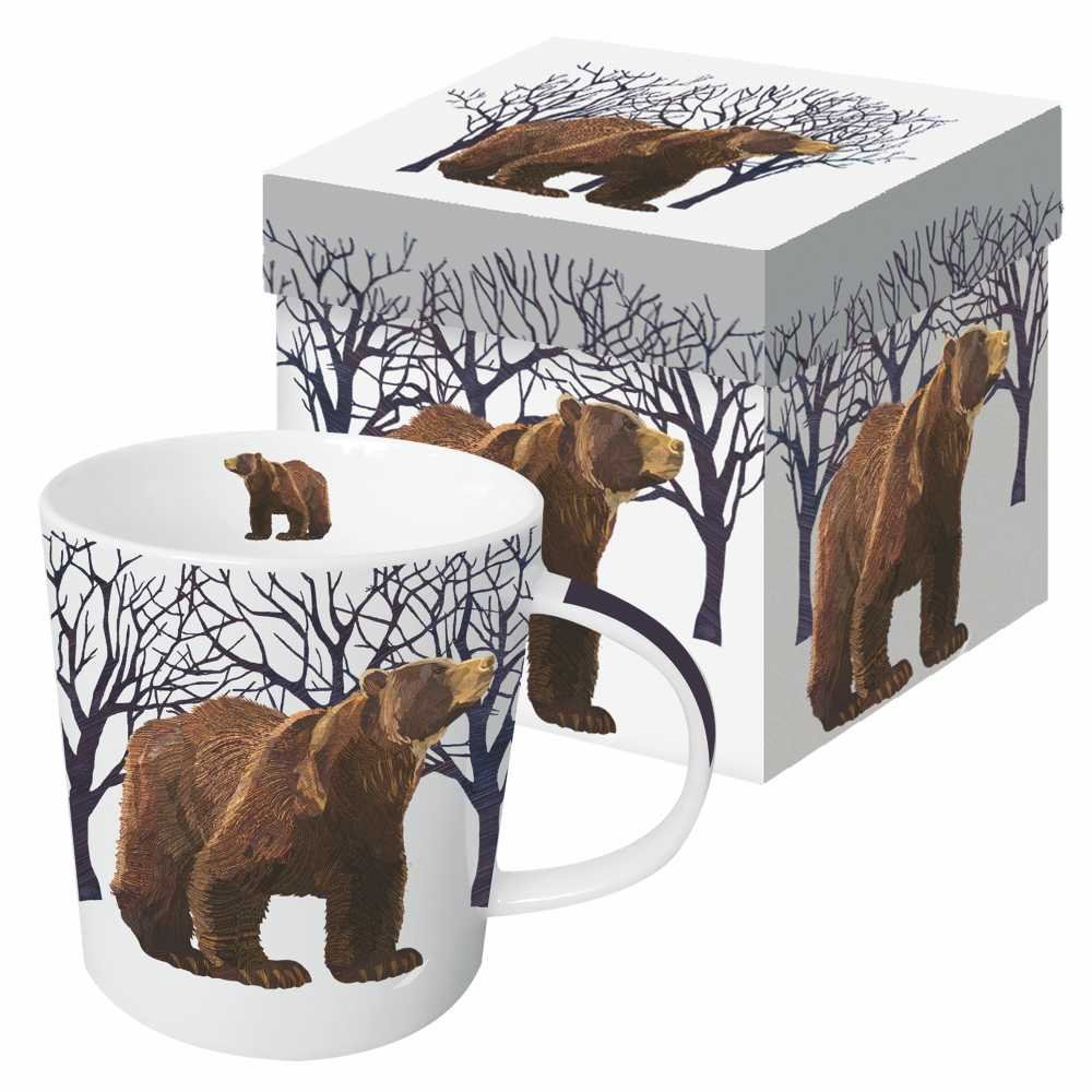 Paperproducts Design Gift Boxed Porcelain Mug, 13.5 oz, Winter Woods Bear, Multicolor