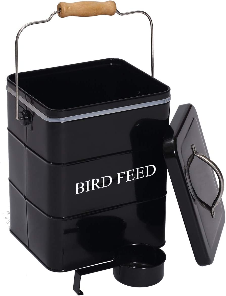 Morezi Bird Seed and Feed Storage tin with lid Included - White-Coated Carbon Steel - Tight Fitting lids - Storage Canister tins