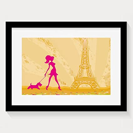Amazon.com: HUANGLING Pink Silhouette Of A Girl With The Dog Eiffel ...