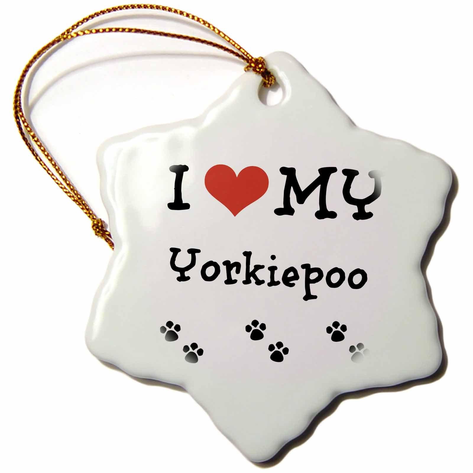 3dRose orn_183651_1 I Love My Yorkiepoo Snowflake Ornament, Porcelain, 3-Inch