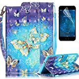 Samsung Galaxy S6 Edge Plus Case, Boince 3D Painted Pattern Bling Book Style Magnetic Snap PU Leather Flip Wallet Case + [HD Screen Protector] + [Double Hand Straps] Anti Scratch Shockproof Full Body Skin Cover-Gold Butterfly
