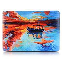 """Neway 2 in 1 bundle Art Fashion Leatherette Top Surface Rubberized Snap-On Hard Cover Case for Apple Macbook,With keyboard Cover,Mac Air 13""""(A1466/A1369),Colour:YH-32(Lonely Boat)"""