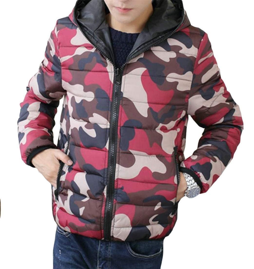 Joe Wenko Mens Parkas Outside Quilted Camo Hoodie Coat Down Jacket
