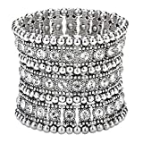 Szxc Jewelry Women's Multilayer Crystal Stretch Bracelet 3 Row