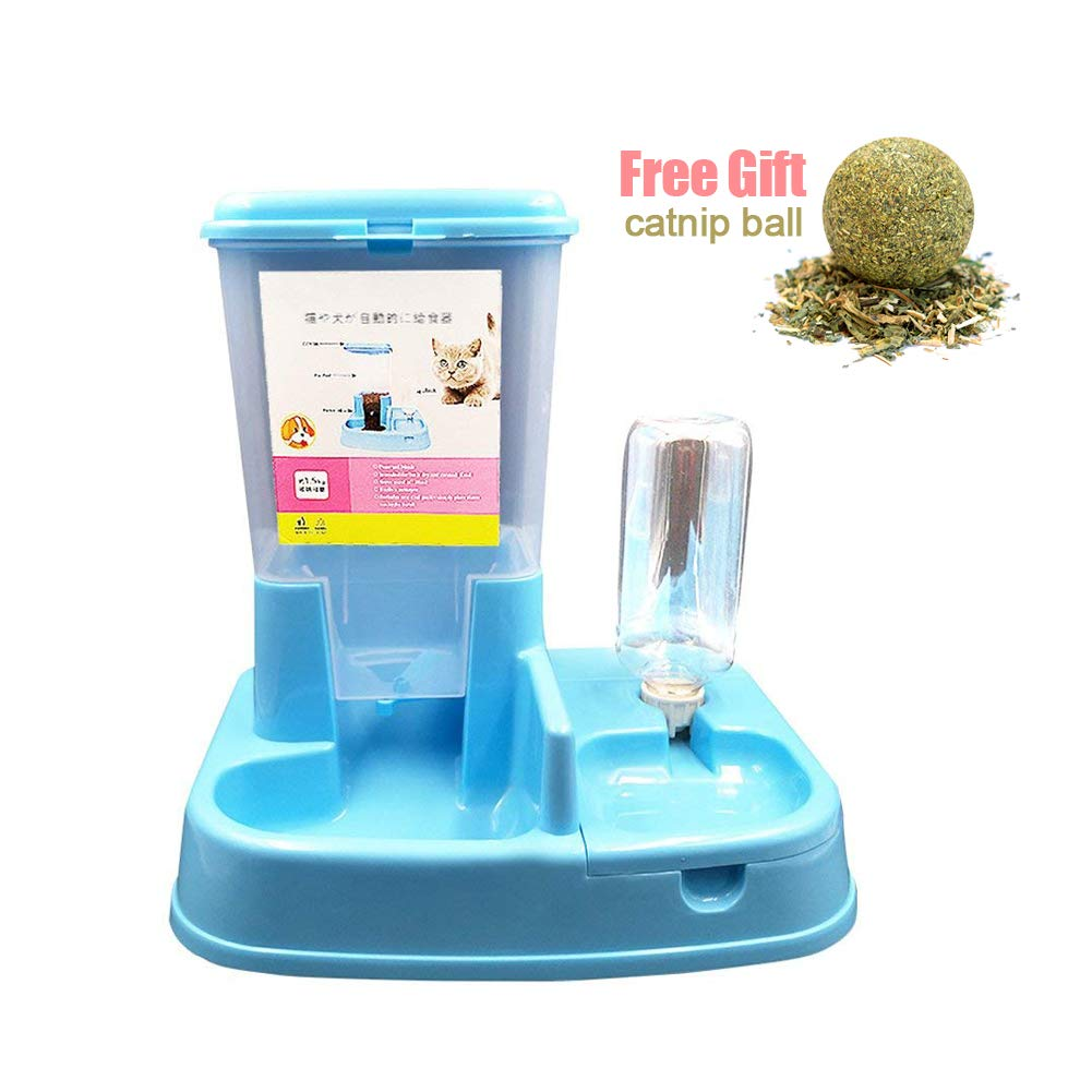 Pethouzz Dual Port Pet Dog Cat Bowl,Removable pet Food Water Feeder with Automatic Water Bottle for Dogs Cats