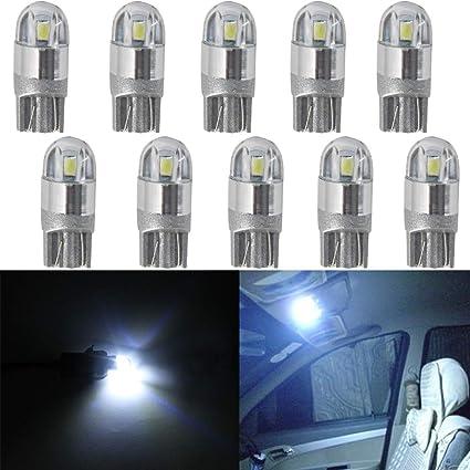Bombillas led para iluminación interior y exterior de coche, T10, W5W, 2-SMD, 194 168 2825, blanco 6000 K, para luces de placa de matrícula, techo y ...