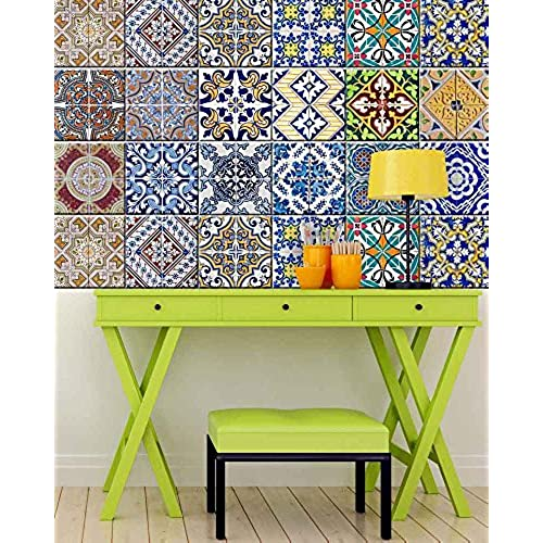 Tile Stickers 24 PC Set Authentic Traditional Talavera Tiles Stickers  Bathroom U0026 Kitchen Tile Decals Easy To Apply Just Peel U0026 Stick Home Decor  6x6 Inch ...