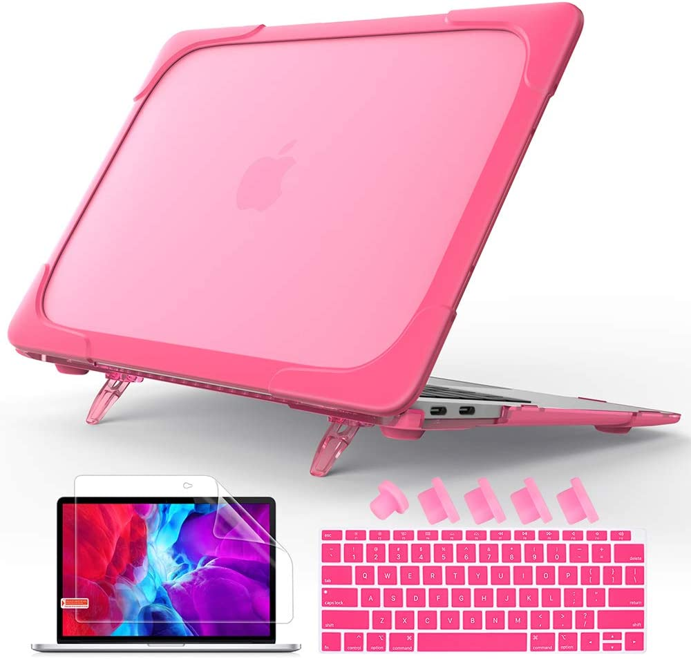Mektron Laptop Case Compatible MacBook Air 13 2020 2019 2018 Release A1932 A2179 with Touch ID,[Heavy Duty][Dual Layer] Hard Plastic Bumper Protective Cover Shell with Kickstand (Rose)