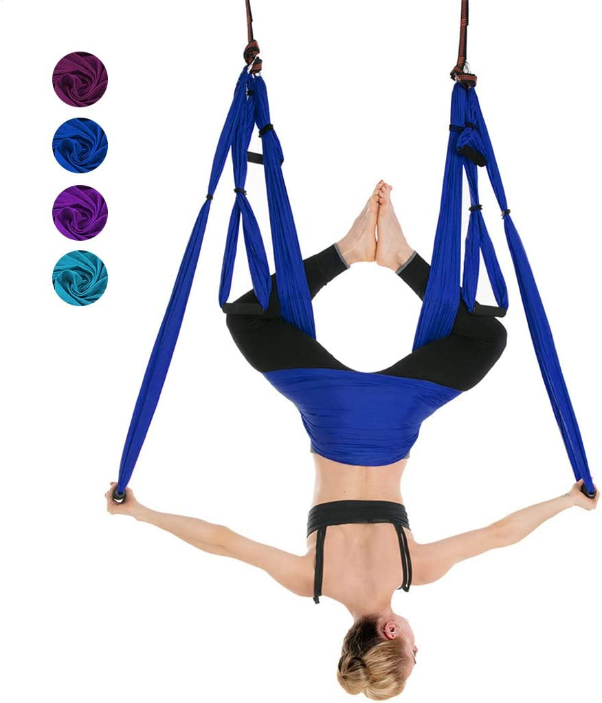 Amazon Com Iphonepassteck Aerial Yoga Hammock Aerial Yoga Swing Set Trapeze Sling Kit For Antigravity Yoga Inversion Exercises Improved Flexibility Two Carabiners Included Sports Outdoors