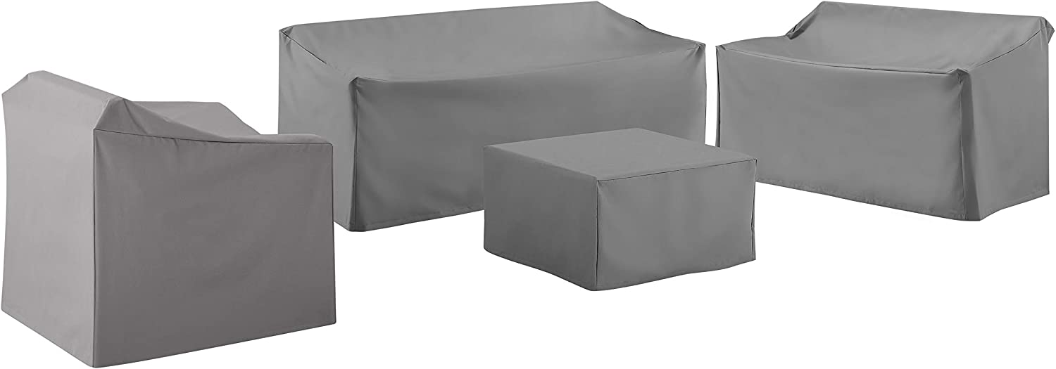 Crosley Furniture MO75011-GY Heavy-Gauge Reinforced Vinyl 4 Piece Furniture Cover Set (Loveseat, Sofa, Table/Ottoman, Chair), Gray