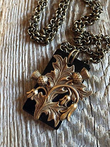 Scottish Thistle Jewellery (Antique Filigree/11 Scottish Thistle on Onyx Slab)