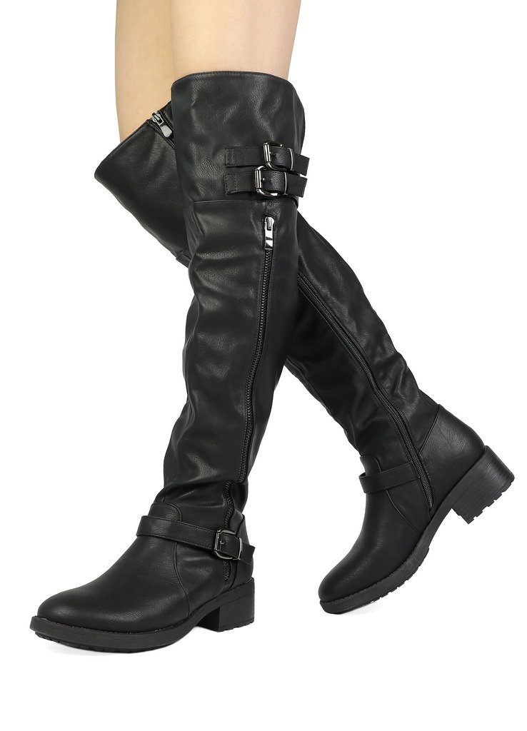 DREAM PAIRS Women's Argentina Black Over The Knee Riding Boots Size 5 M US