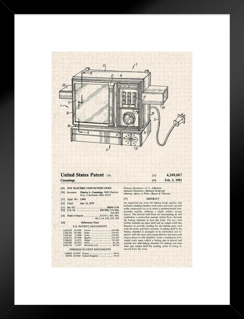 Poster Foundry Electric Oven Toy Retro Official Patent Diagram Matted Framed Wall Art Print 20x26 inch
