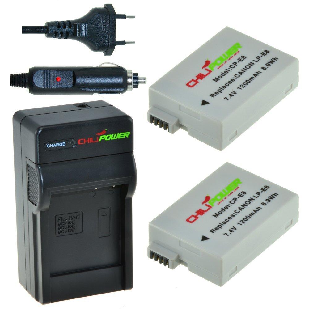 Chili Power LP-E8 Kit: 2 x Batería + Cargador para Canon EOS 550d, EOS 600d, EOS 650d, EOS 700d, EOS Rebel T2i, T3i, T4i, T5i, Kiss X4, X5, X6, LC de ...