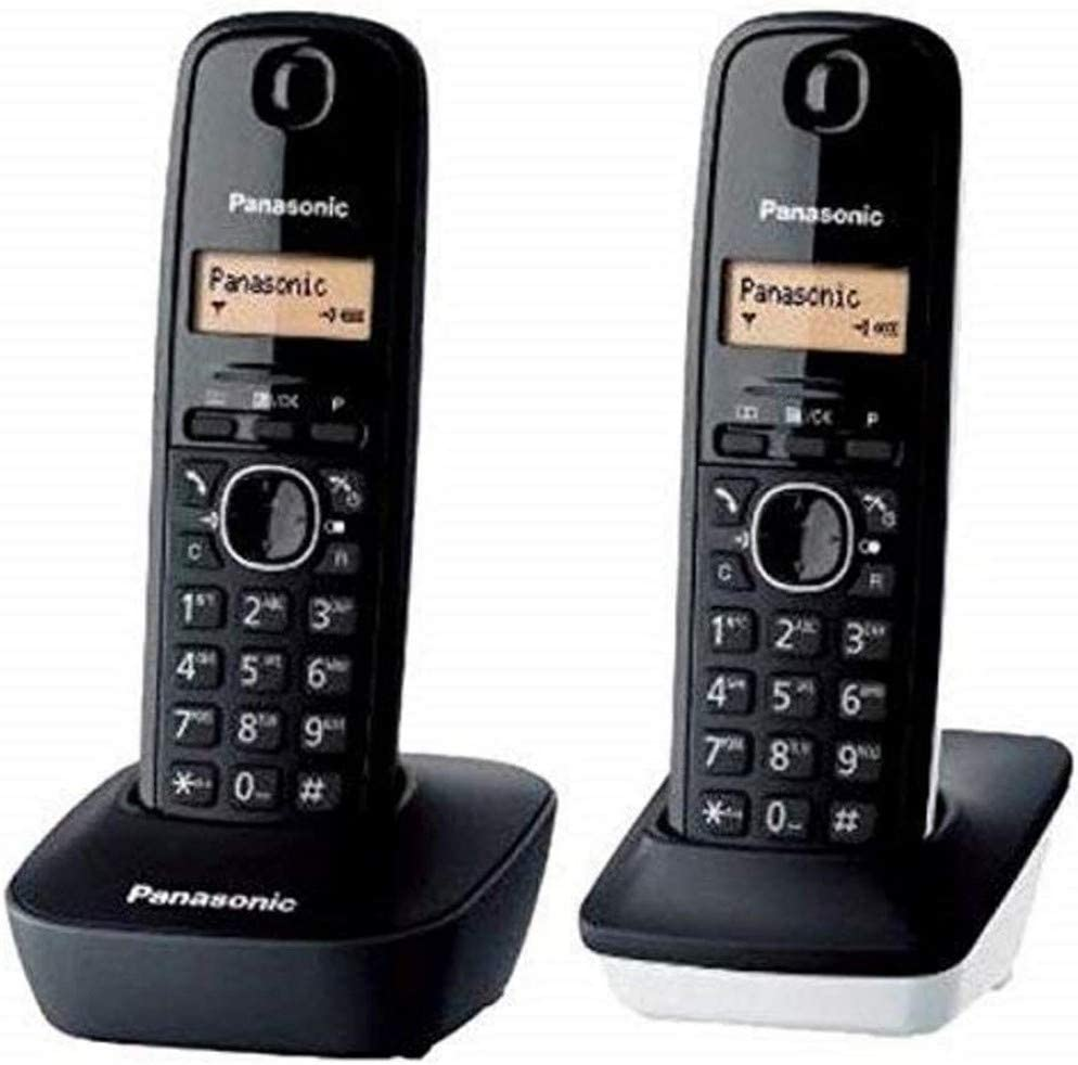 Panasonic KX-TG1612 - Teléfono Fijo inalámbrico Dúo (LCD, identificador de Llamadas, Intercomunicación, tecla de navegación, Alarma, Reloj), Color Negro y Blanco
