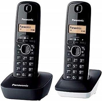 Panasonic KX-TG1612 - Teléfono Fijo inalámbrico Dúo (LCD, identificador de Llamadas, Intercomunicación, tecla de navegación, Alarma, Reloj), Color Negro y Blanco: Panasonic: Amazon.es: Electrónica