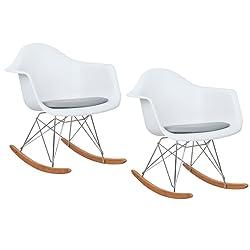 Giantex Set of 2 Molded Plastic Rocking Rocker Arm Side Chair Molded Plastic Padded Seat White