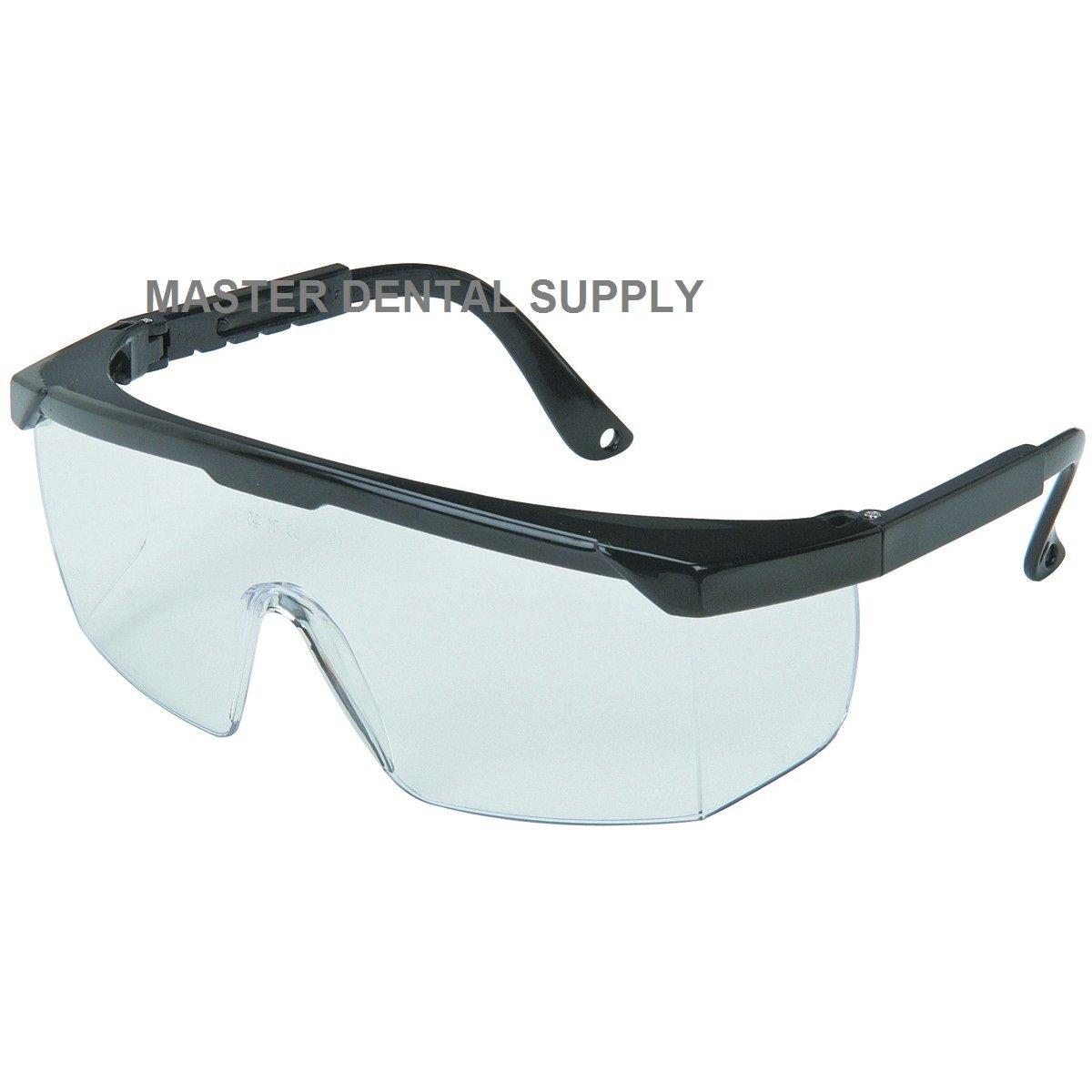 Protective Eyewear Goggle CLEAR Black Frame Dental Safety Glasses