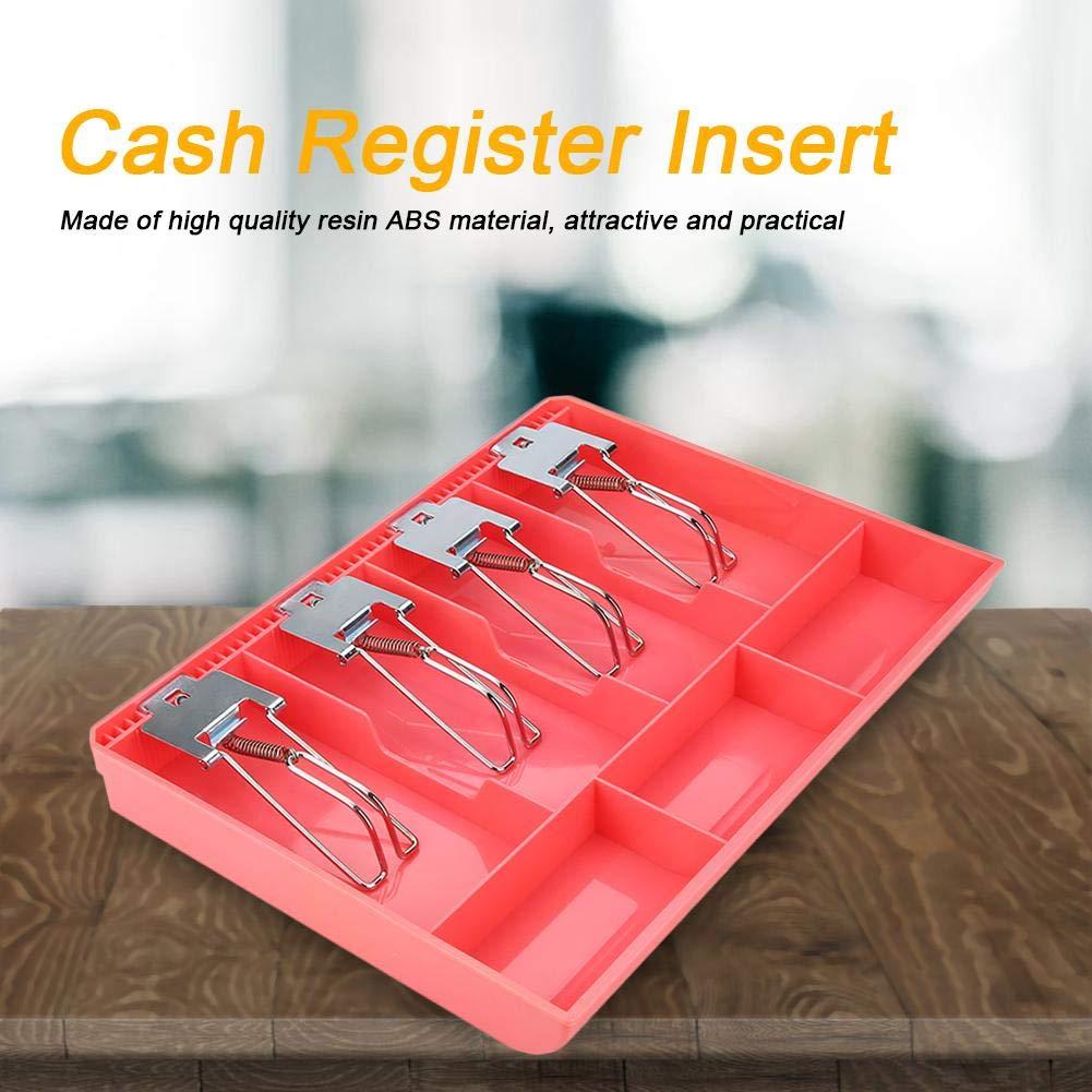 FTVOGUE Registratore di cassa Cassetto di ricambio per vassoio inserto con clip in metallo 4 fatture 3 monete per scatola di immagazzinamento denaro in contanti Petty 02