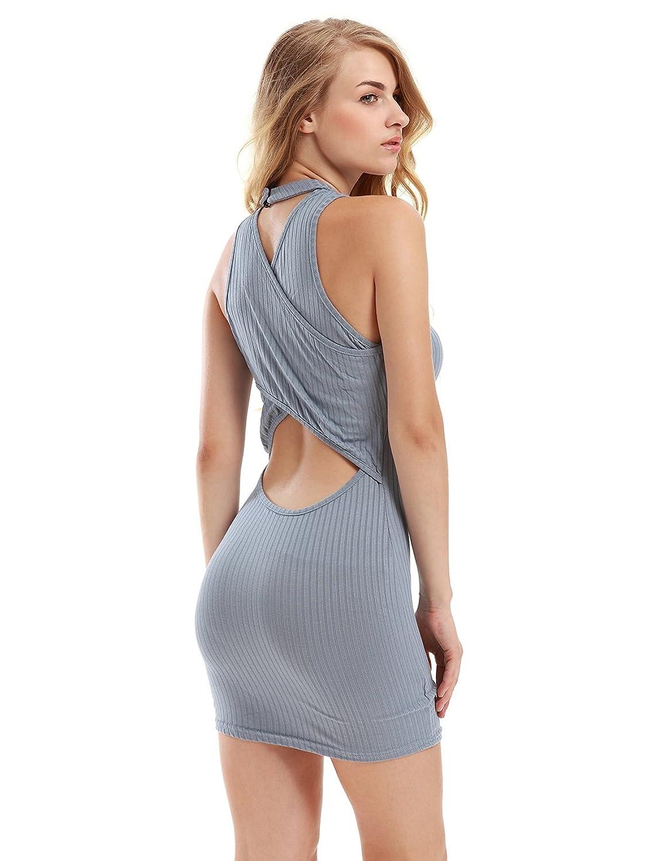 TeeDoc Women Halter Sleeveless Backless Sexy Mini Bandage Clubwear Dress