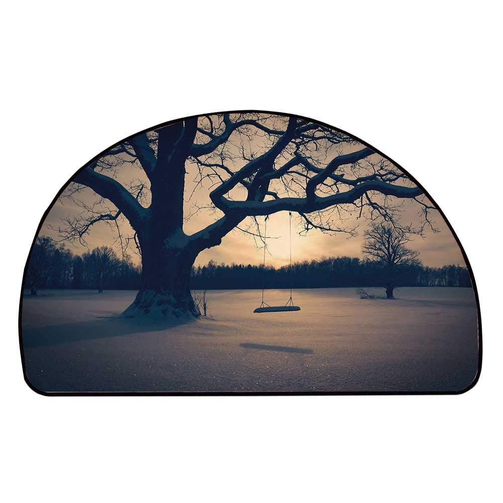 C COABALLA Tree of Life Comfortable Semicircle Mat,Majestic Tree in The Garden with A Swing Nostalgic Dramatic Winter Scenery Decorative for Living Room,11.8'' H x 23.6'' L
