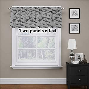 """Interestlee Funny Words Textured Kitchen Curtain Valance Blah Blah Words in Hand Written Style Nonsense Expression Discussion Theme Rod Pocket Matches with Panels Black and White, 56"""" x 16"""""""