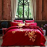 DHWM-Cotton embroidery four piece of pure cotton double set of sheets, plush cotton embroidered bed linen ,1.5m