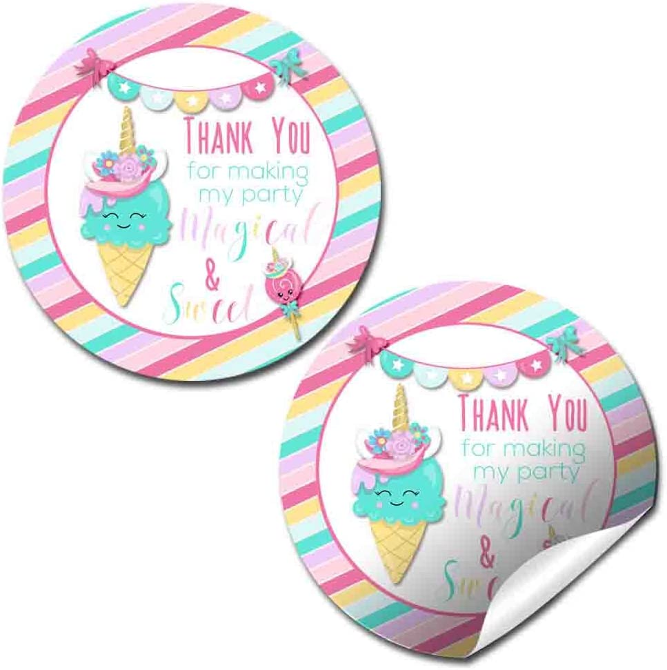 Personalised Balloons Birthday Stickers For Party Thank You Sweet Cone Bags