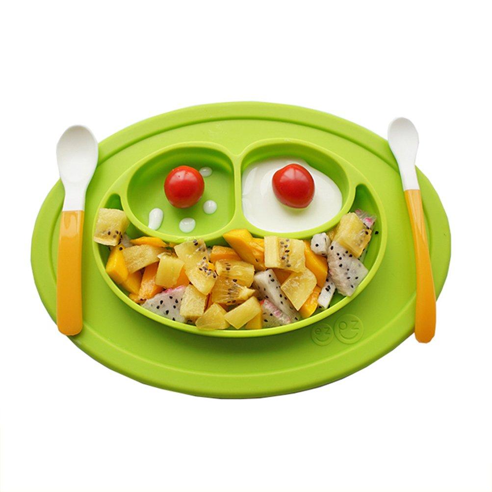 Isuper Baby Platzdeckchen grü n Frosch Teller 3-Sektion Essenplatte und Platzmatte aus FDA-zertifiziert Silikon Rutschfeste Schü ssel Tischset Tischunterlage Untersetzer Kinder Babyteller Kinderteller Babyschale Teller-Unterlage-Kind grü n
