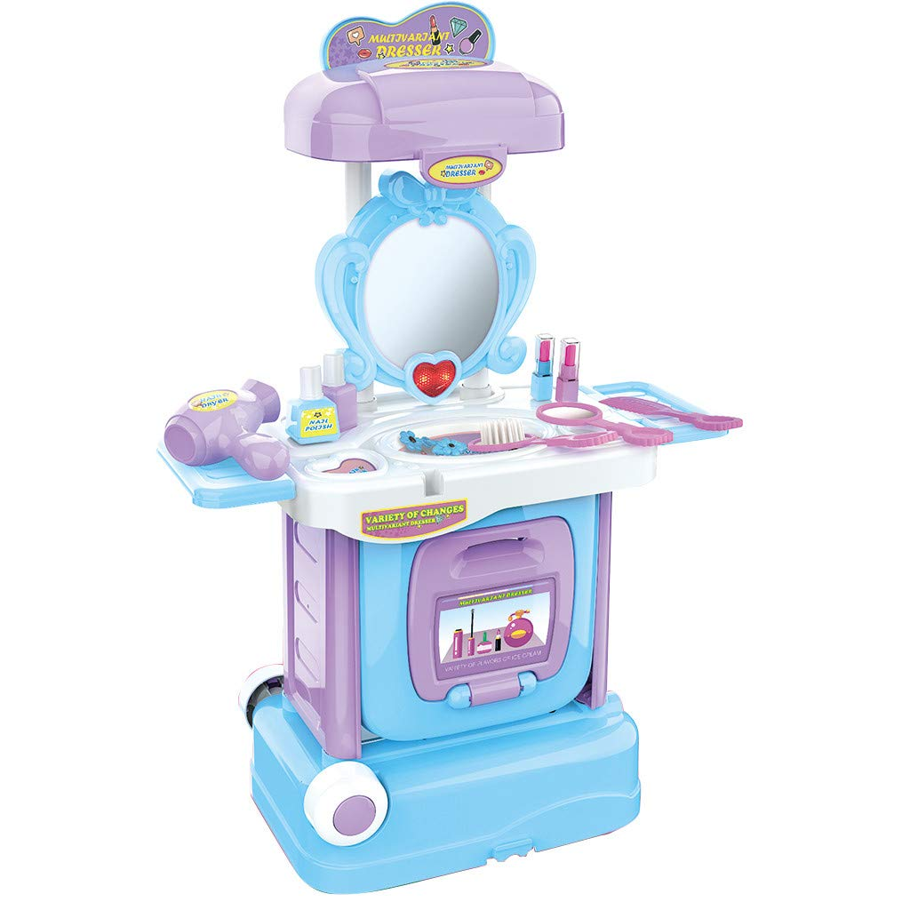 DDIGEjin 2 in 1 Vanity Pretend Play Dressing Table&Musical Suitcase Beauty Make Up Set,Little Girls Play Makeup Set for Toddlers Kids Vanity Case Dress Up Toys Travel Playset by DDIGEjin