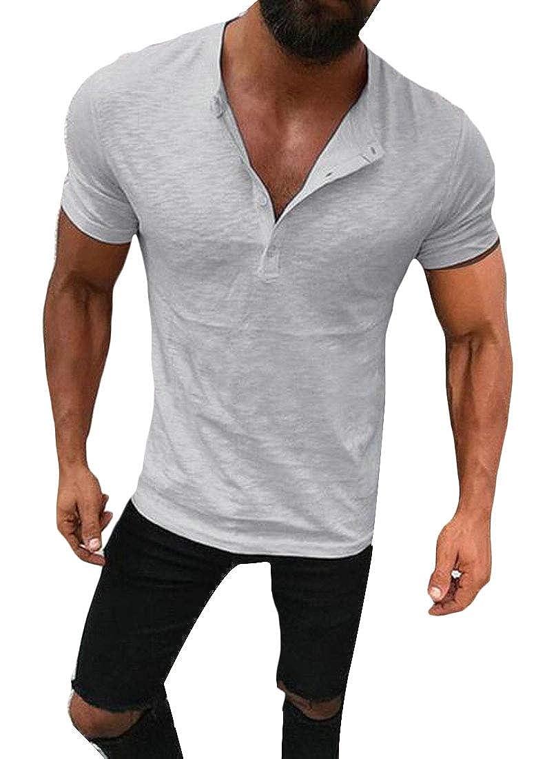 Men Henley T-Shirt Casual Short Sleeve Lightweight Basic Tee Tops