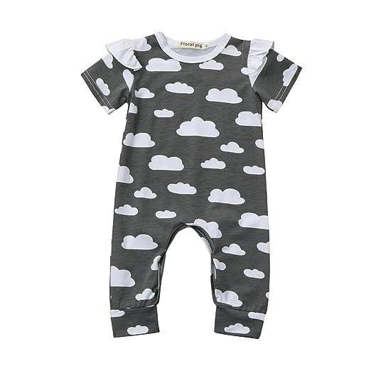 1b1cf960f Amazon.com  iumei Baby Onesies Pajamas for Boys Girls Ruffles Short ...