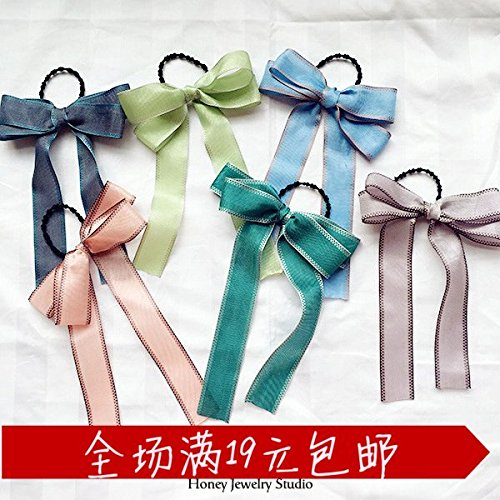 - South Korean small fresh linen personalized ring hair bow long streamers simple Japanese and Korean version of horsetail hair accessories rubber band Tousheng for women girl lady