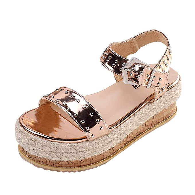 93fb23940 Duseedik Summer Women s Thick-Soled Sandals Belt Buckle Flat Rivet Beach Slippers  Shoes Gold