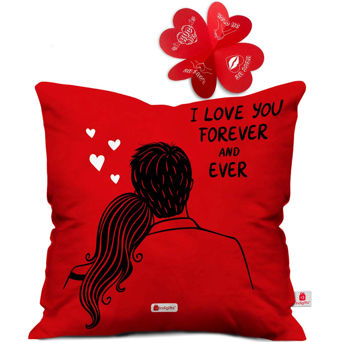 Amazon India Offer Get upto 50% off on Gift Indigifts Valentine Day Gift I love You Forever Quote Romantic Couple Sitting Together Red Cushion Cover Gift for Boyfriend, Girlfriend, Birthday, Wife, Husband, Anniversary