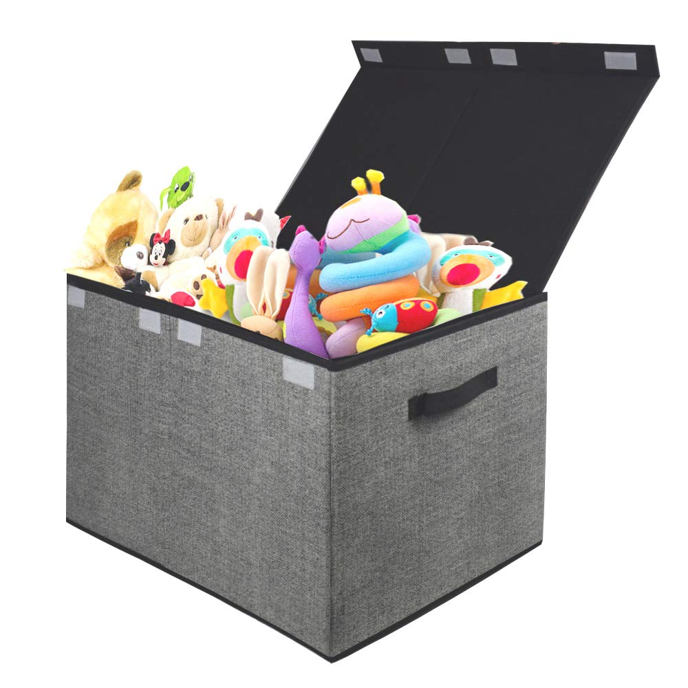 Homyfort Kids Large Toy Chest with Flip-Top Lid, Collapsible Storage Box Container Bins for Nursery, Playroom, Closet, Home Organization, 24''x15'' x14.5'' (Black with Printing) by Homyfort
