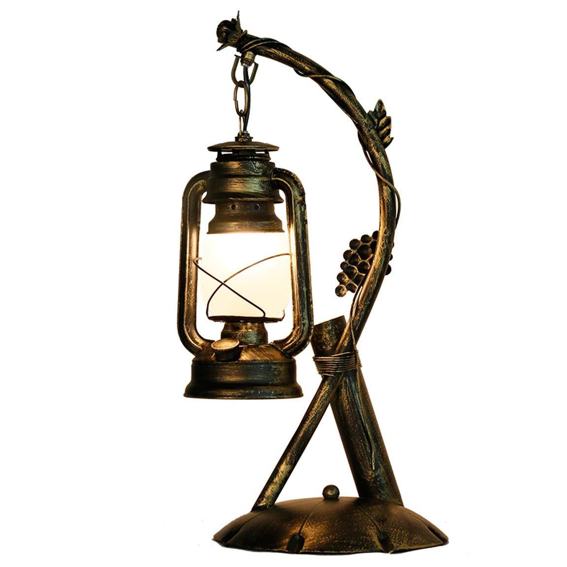 HLQW Amerikanische Tischlampe, ländliche antike Eisen Lampe, kreative Coffee Coffee Coffee Shop, Petroleumlampe, Laterne Laterne, Nacht Residenz, alte Designer-Lampe. B07JJGY2K8 | Sofortige Lieferung  199f6f