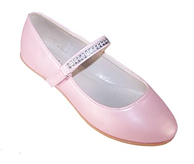 331c211bdf7f The Sparkle Club Girls Childrens Pale Pink Soft PU Ballerina Flower Girl  Bridesmaid Special Occasion Shoes