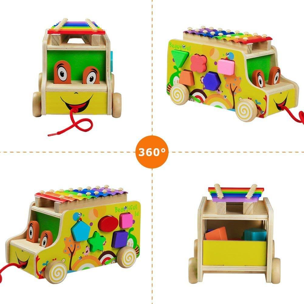 Lalia Nachzieh Holzspielzeug Auto Xylophon Hund Motorik Spielzeug Nachziehtier bunt aus Holz bunt Holz Spielzeug 3+ Kinder Kleinkinder Motorikw/ürfel 12x25x15 Geschenk Motorik Spielzeug