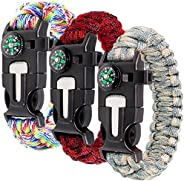 Paracord Bracelet Kit Set of 3 for Outdoor Survival, maxin 9 INCH Survival Gear Kit with Embedded Compass, Fir