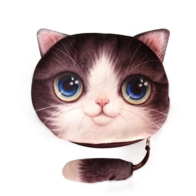 1d38ec63310e Amazon.com  Cai- new coin purses girls wallet 3D printing cute cat with  tail animal big face wallets small zipper change bags for women four cute  patters ...