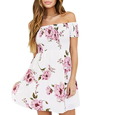 bfd1b2377af Misaky Fashion Women Off Shoulder Floral Beach Evening Party Short Mini  Dress (Asian S